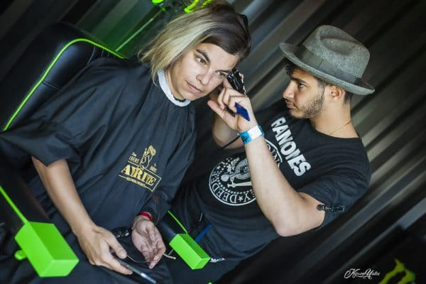 Hairdressing in the Monster energy tent
