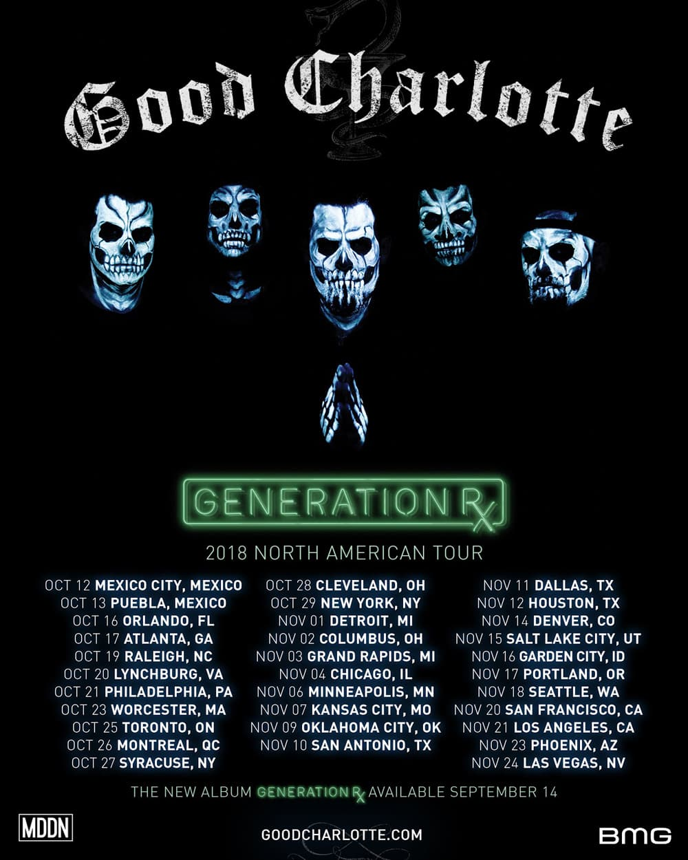 good charlotte american tour 2018