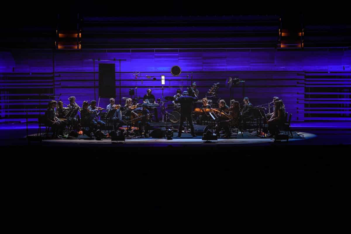 José Gonzalez & The String Theory Orchestra on stage at Place Des Arts