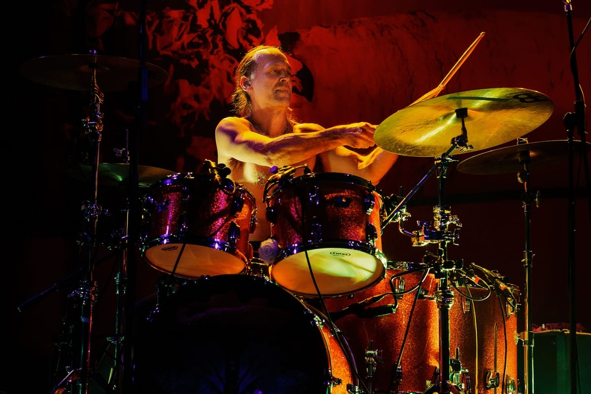 Baroness drummer on stage at the Corona Theatre